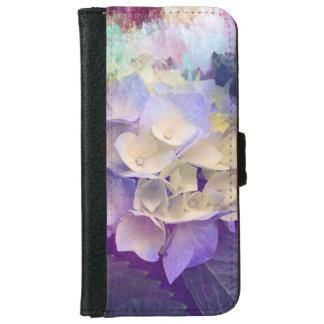 Schöner lila Blumentelefonkasten iPhone 6/6s Geldbeutel Hülle
