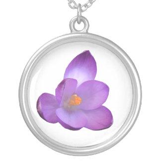 Schöner lila Krokus-Blumenhalskette Versilberte Kette