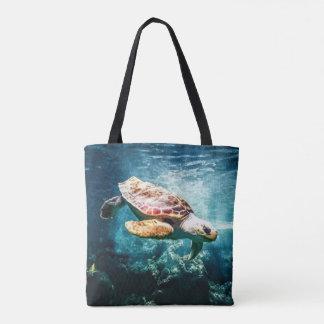 Schöner Meeresschildkröte-Ozean-Unterwasserbild Tasche