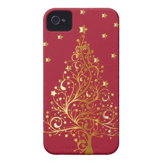 Schöner metallischer Goldweihnachtsbaum auf iPhone 4 Cover