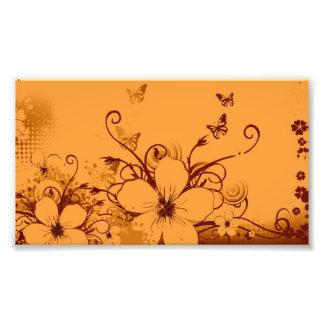 Schöner orang Blumen-Strudel abstrakte vectror Fotodruck