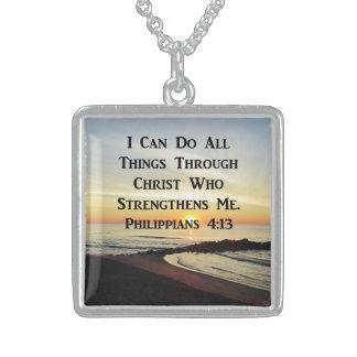 SCHÖNER PHILIPPIANS-4:13 FOTO-ENTWURF STERLING SILBERKETTE