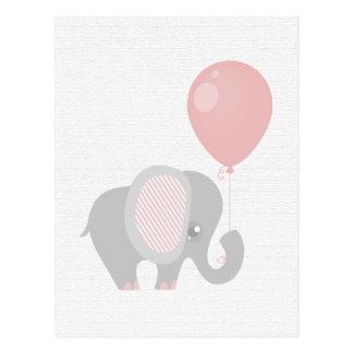 Schöner rosa Baby-Elefant Postkarte