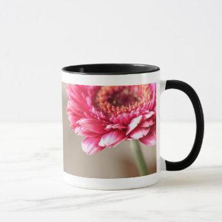Schöner rosa Gerbera auf Beige Tasse