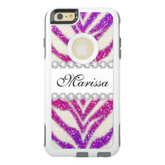 Schöner rosa Glitterweißer Zebra OtterBox OtterBox iPhone 6/6s Plus Hülle
