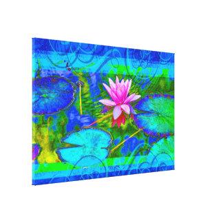 Schöner rosa Wasserlilie-Lotos im Teich Leinwanddruck