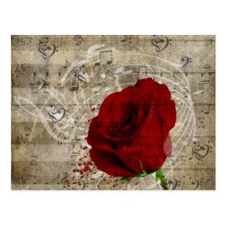Schöner Rosen-Musiknotenstrudel verblaßte Klavier Postkarte