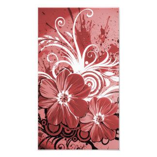 Schöner roter Blumen-Strudel abstrakte vectror Fotodruck