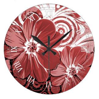 Schöner roter Blumen-Strudel abstrakte vectror Große Wanduhr