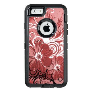 Schöner roter Blumen-Strudel abstrakte vectror OtterBox iPhone 6/6s Hülle