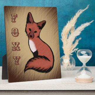 Schöner roter Foxy Fox Fotoplatte