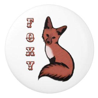 Schöner roter Foxy Fox Keramikknauf
