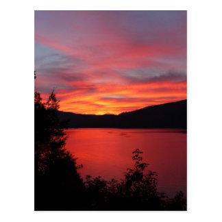 Schöner roter Sonnenaufgang über einem See Postkarten