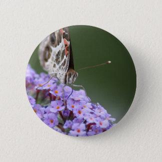 Schöner Schmetterling auf Schmetterlingsbusch Runder Button 5,1 Cm