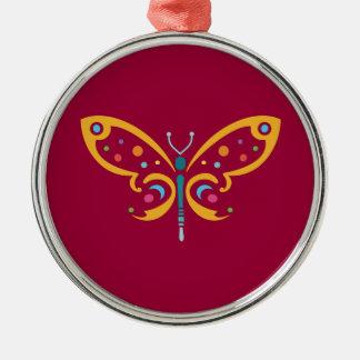 Schöner Schmetterling Rundes Silberfarbenes Ornament