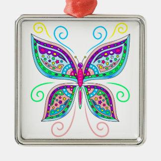 Schöner Schmetterling Silbernes Ornament