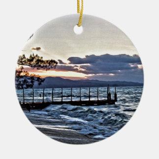 Schöner Sonnenuntergang in Montego Bay, Jamaika Rundes Keramik Ornament