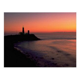 Schöner Sonnenuntergang: Montauk Punkt-helles Postkarte