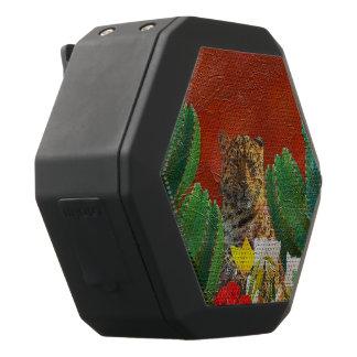 Schöner vibrierender Tiger mit Blumen Schwarze Bluetooth Lautsprecher