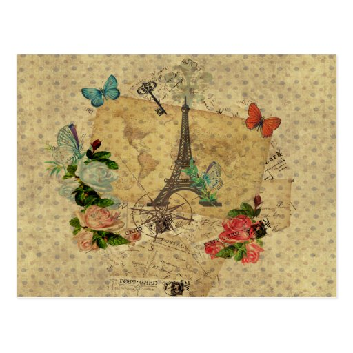 Schöner Vintager Postkartencollage Eiffel-Turm Postkarten