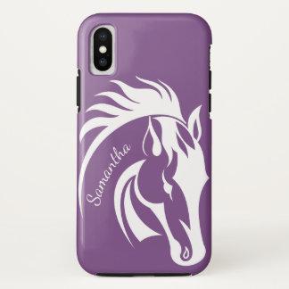Schöner weißes Pferdeentwurf iPhone X Kasten iPhone X Hülle