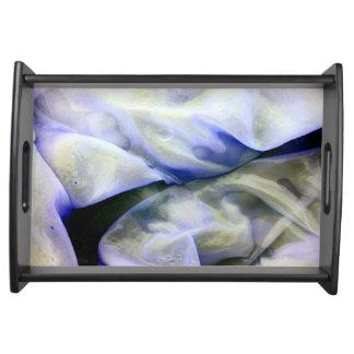 Schönes abstraktes Natur-Weiß und Blau Tablett