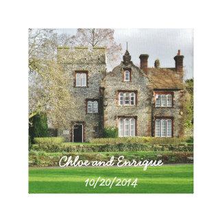 Schönes altes Gebäude-personalisierte Hochzeit Leinwanddruck