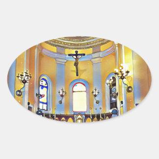 Schönes altes künstlerisches Schongebiet San Juan Ovaler Aufkleber