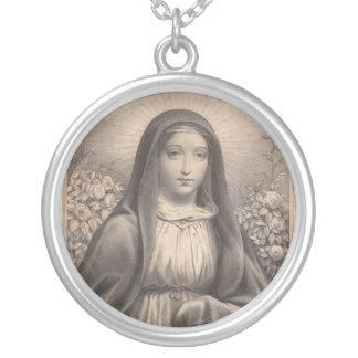 Schönes antikes französisches Bild der heiligen Halskette Mit Rundem Anhänger