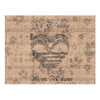Schönes antikes Musiknotenherz Postkarte