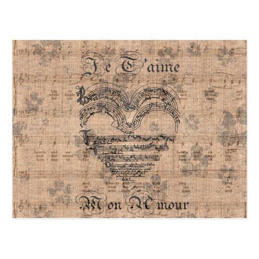 Schönes antikes Musiknotenherz Postkarten