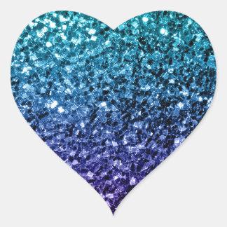 Schönes Aqua blaue Ombre Glitter-Glitzern Herz-Aufkleber