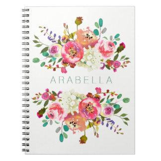 Schönes Aquarell mit Blumen mit Ihrem Namen Spiral Notizblock