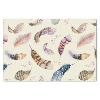 Schönes Aquarell versieht Muster mit Federn Seidenpapier