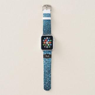 Schönes Babyblau-Glitter-Glitzern Monogramm Apple Watch Armband
