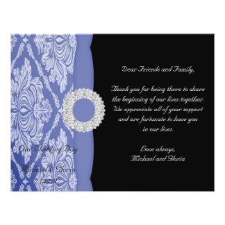 Schönes blaues Damast-Set 21,6 X 27,9 Cm Flyer