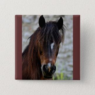 Schönes Brown-Pferd Quadratischer Button 5,1 Cm