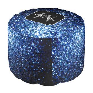 Schönes dunkelblaues Glitter-Glitzern Monogramm Hocker