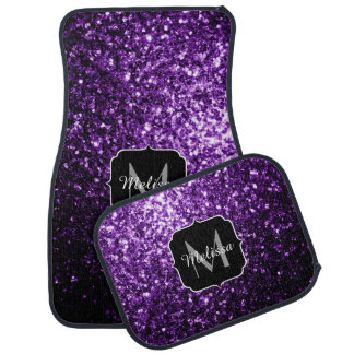Schönes dunkles lila Glitter-Glitzern Monogramm Automatte