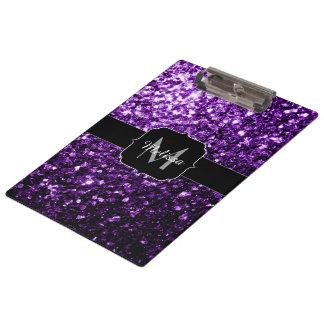 Schönes dunkles lila Glitter-Glitzern Monogramm Klemmbrett