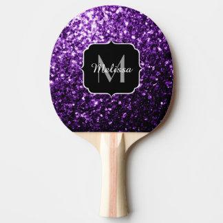 Schönes dunkles lila Glitter-Glitzern Monogramm Tischtennis Schläger