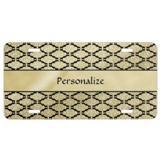 Schönes elegantes Gold u. schwarzes symmetrisches US Nummernschild