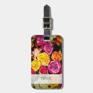 schönes elegantes stilvolles buntes Rosen-Foto Gepäckanhänger