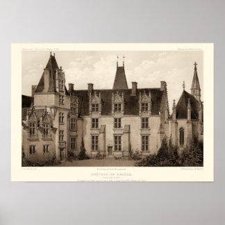 Schönes französisches Chateau in den Sepia-Tönen Poster