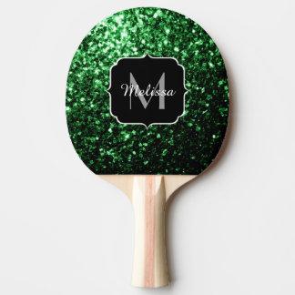 Schönes Glamour-Grün-Glitter-Glitzern Monogramm Tischtennis Schläger