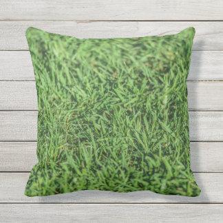 Schönes grasartiges grünes Kissen im Freien