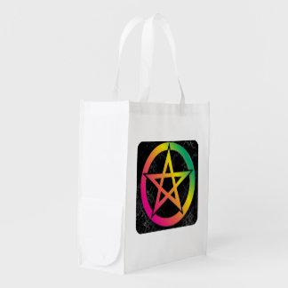Schönes helles Pentagramm Wiederverwendbare Einkaufstasche