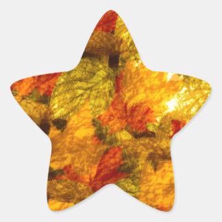 Schönes Herbst-Blätter Stern-Aufkleber