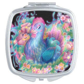 Schönes Huhn und Blumen Taschenspiegel