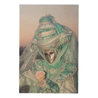 Schönes Karnevals-Kostüm, Venedig Holzleinwand